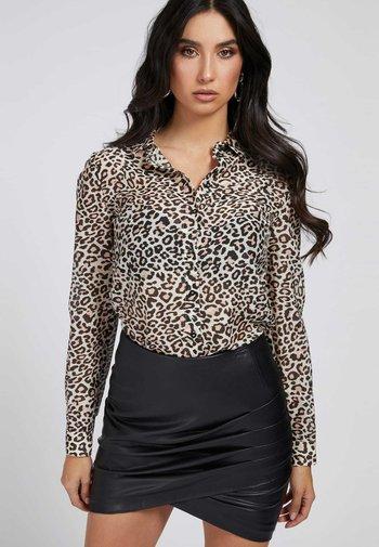 BLUSE SEIDENMIX - Button-down blouse - marrón