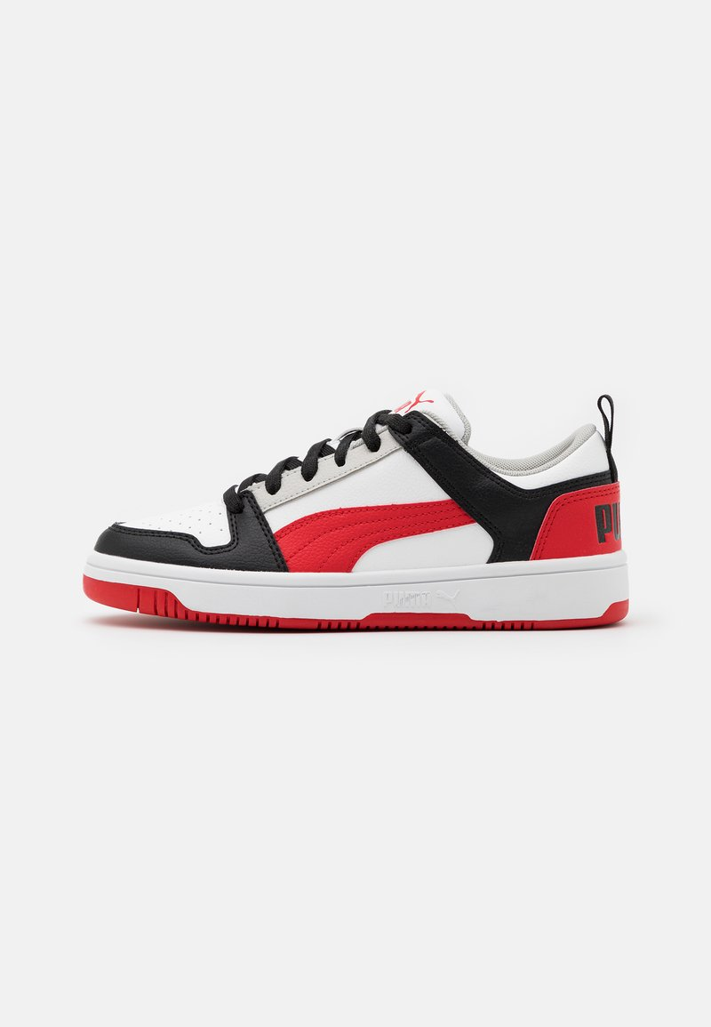 Puma - REBOUND LAYUP UNISEX - Sneakers - white/high risk red/black/gray violet