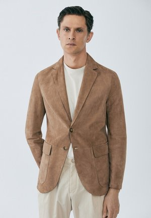 LIMITED EDITION - Leather jacket - beige