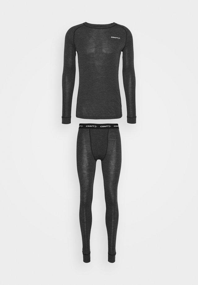 CORE SET - Caleçon long - black melange
