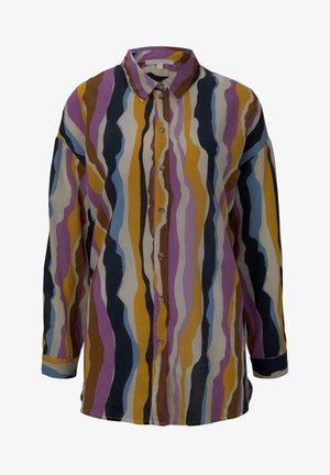 Button-down blouse - wavy multicolor stripes