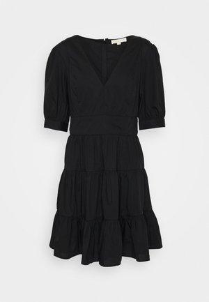 V NECK PUFF DRESS - Denní šaty - black