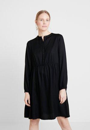 SHORT EASY BUTTON DRESS - Shirt dress - deep black