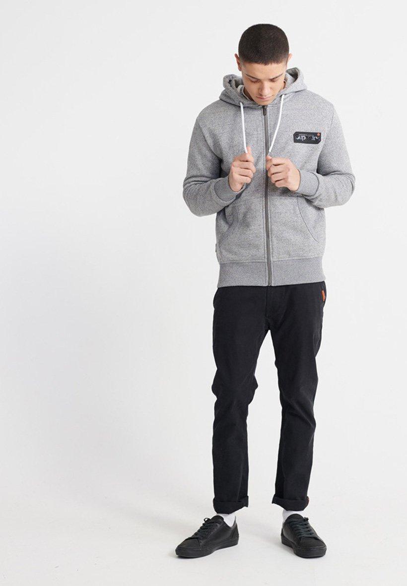 Superdry veste en sweat zippée - grey grit