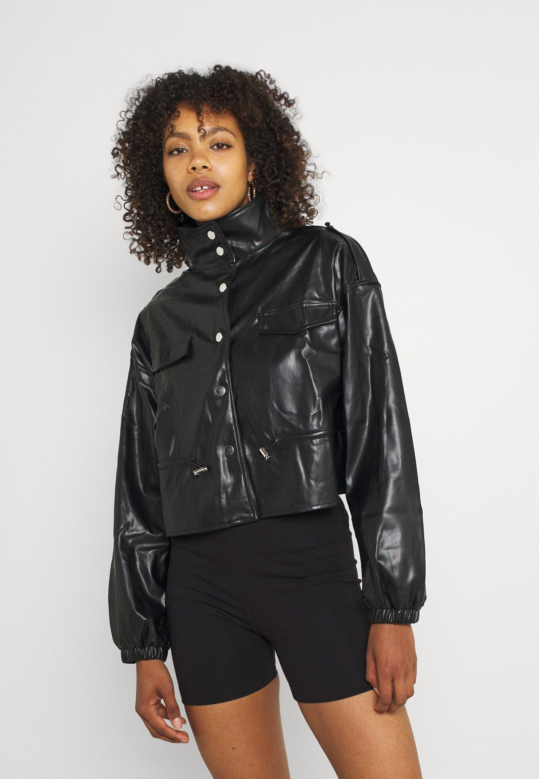 Women TOGGLE WAIST CROPPED JACKET - Faux leather jacket