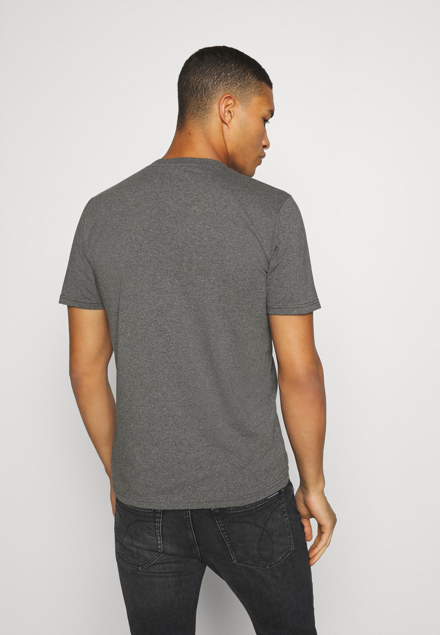 Lee TONAL FLOCK LOGO TEE - Print T-shirt - dark grey 1p9ls