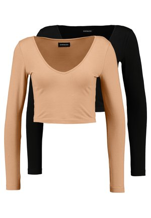 2 PACK - Long sleeved top - camel/black