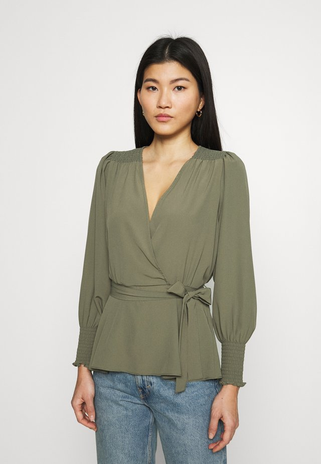 SHIRRED CUFF WRAP - Blouse - khaki