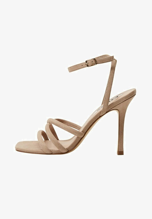 Sandalen met hoge hak - middenbruin