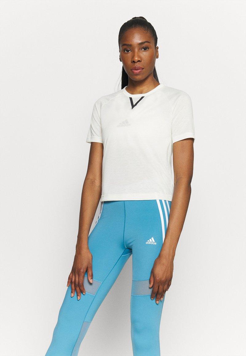 adidas Performance - CROP TEE - Print T-shirt - off-white