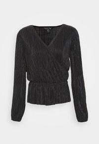 SHINE PEPLUM WRAP - Long sleeved top - true black