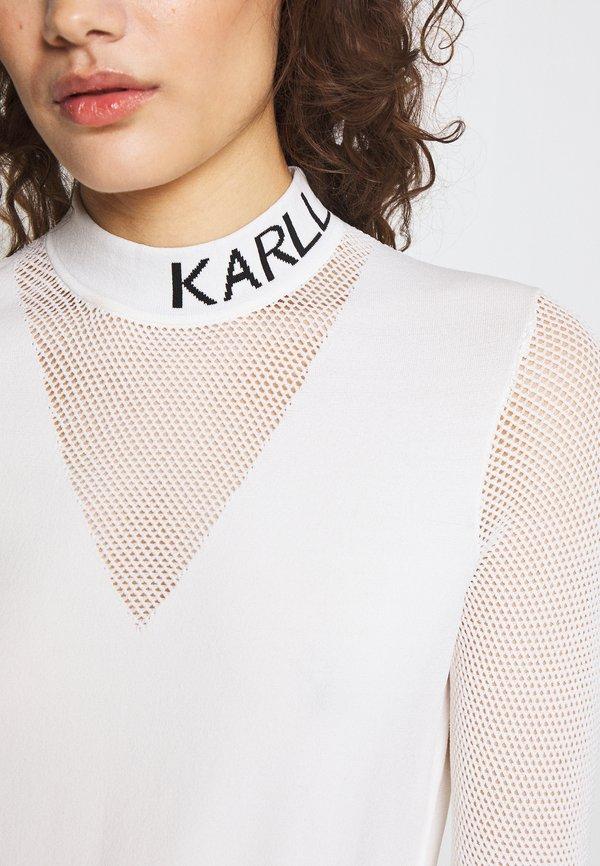 KARL LAGERFELD POINTELLE LOGO MOCKNECK - Bluzka z długim rękawem - offwhite Odzież Damska OKAP VA 9
