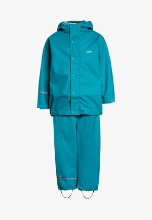 RAINWEAR SUIT BASIC SET WITH FLEECE LINING - Regnbukser - turquoise