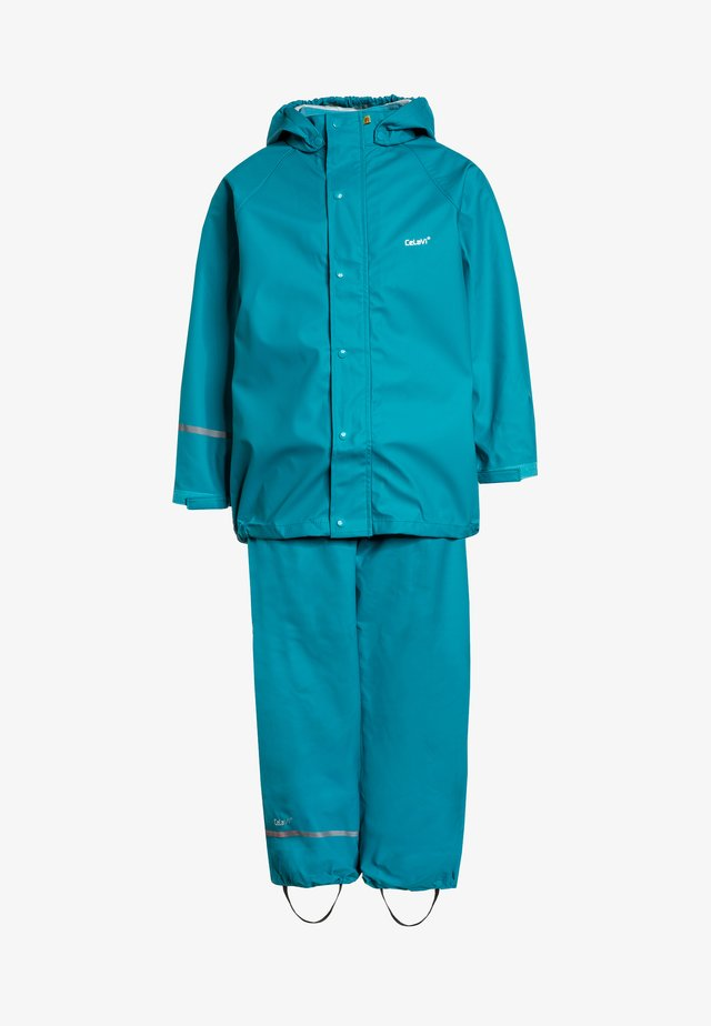 RAINWEAR SUIT BASIC SET WITH FLEECE LINING - Kurahousut - turquoise