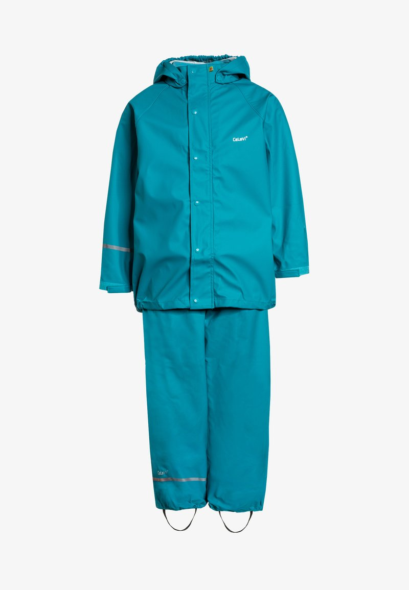 CeLaVi - RAINWEAR SUIT BASIC SET WITH FLEECE LINING - Rain trousers - turquoise