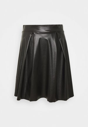 Fake Leather mini A-line skirt - Mini skirt - black