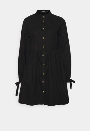 TIE CUFF DRESS BUTTON - Shirt dress - black