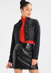 Urban Classics - SHORT JACKET - Denim jacket - black washed - 0