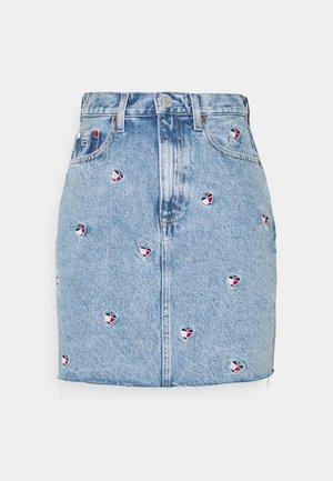 MOM SKIRT - Mini skirt - denim light