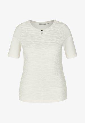 MIT UNIFARBENEM STOFF UND HALBLANGEN ÄRMEL - T-Shirt print - white