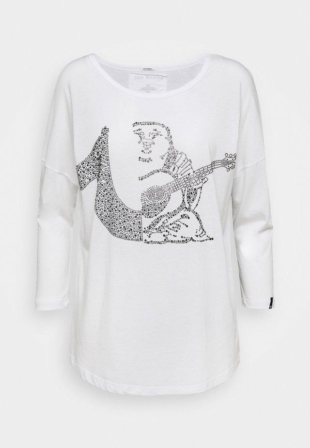 CREW BUDDHA HORSESHOE RHINESTONES - Long sleeved top - white