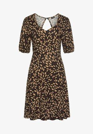 Jersey dress - braun-bedruckt