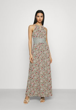 VIMILINA FLOWER DRESS - Maxi-jurk - green milieu/red/pink