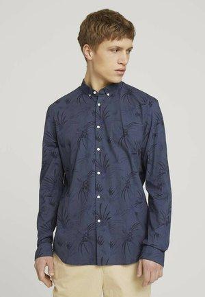 Shirt - navy blue thistle print