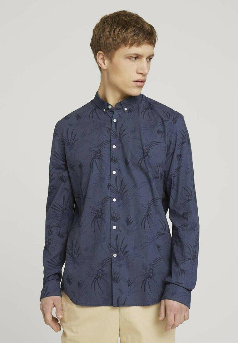 TOM TAILOR DENIM - Shirt - navy blue thistle print