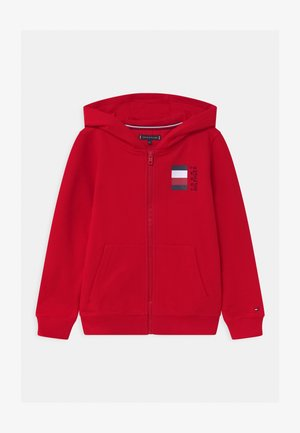 GLOBAL STRIPE HOODED  - Felpa aperta - red