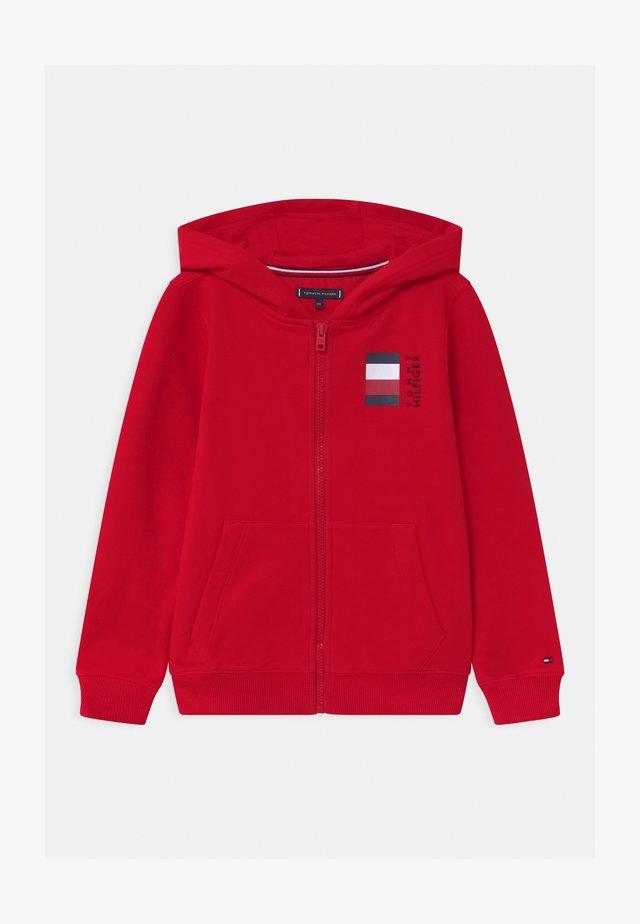 GLOBAL STRIPE HOODED  - veste en sweat zippée - red