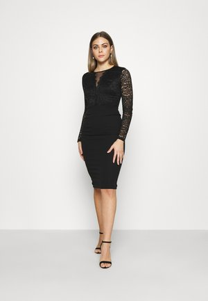 ANALIA LONG SLEEVE MIDI DRESS - Vestido de cóctel - black