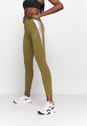 ONE COLORBLOCK - Legginsy - olive flak/metallic silver