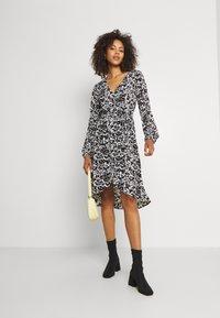 JDY - JDYROXANNE WRAP DRESS - Day dress - white/black - 1