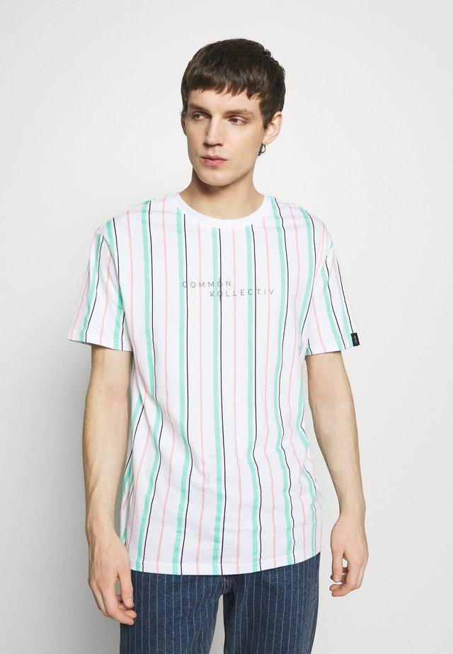 UNISEX STRIPED AQUA TEE - T-shirt imprimé - white