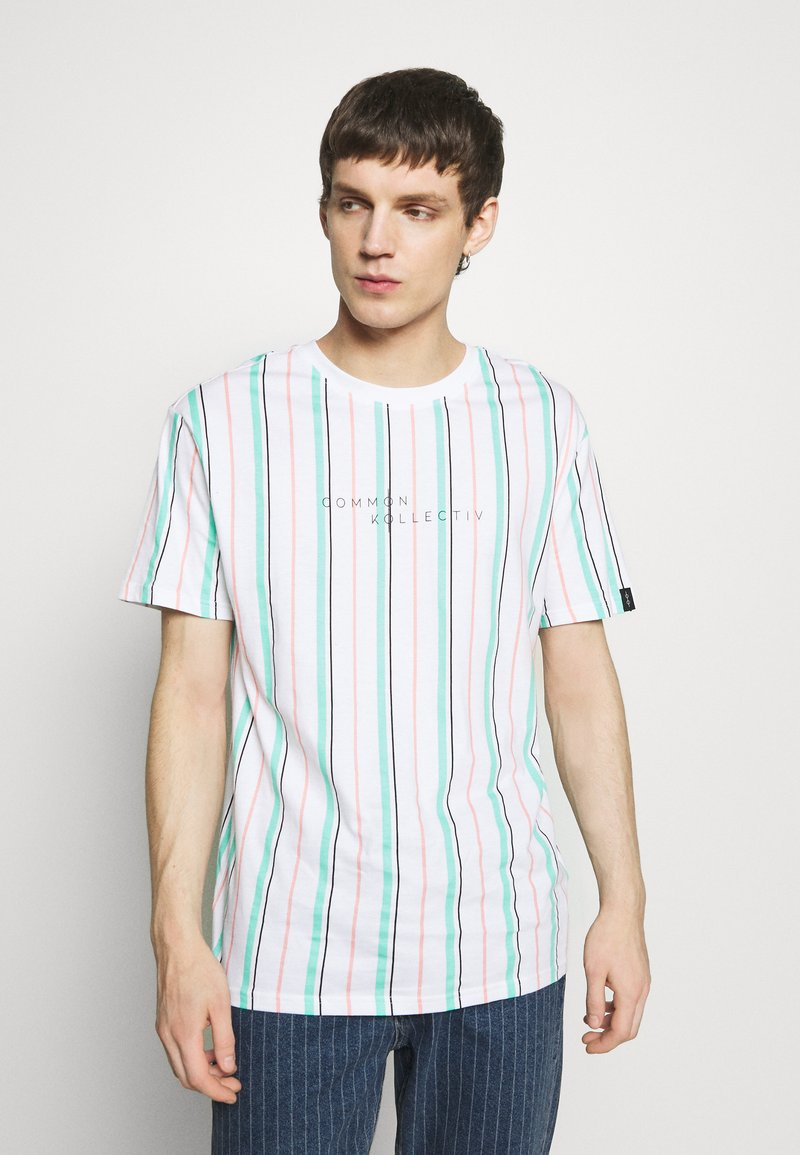 Common Kollectiv - UNISEX STRIPED AQUA TEE - Print T-shirt - white