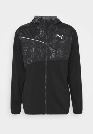 RUN GRAPHIC HOODED JACKET - Hardloopjack - black