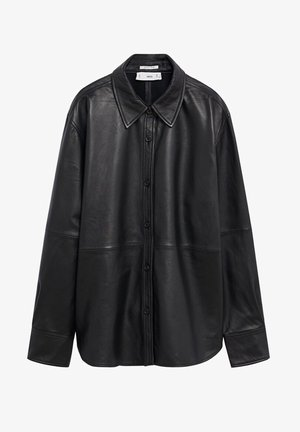 WIDE - Leather jacket - schwarz