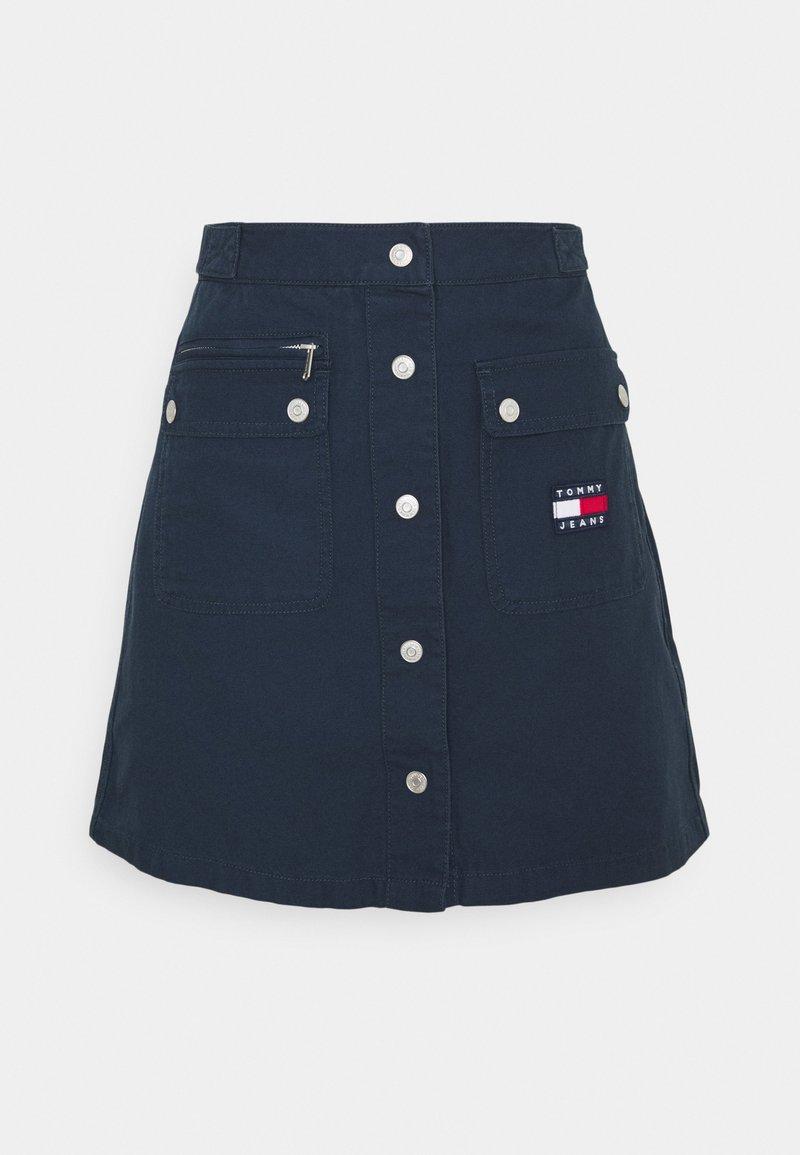 Tommy Jeans - BUTTON MINI UTILITY SKIRT - Mini skirt - twilight navy