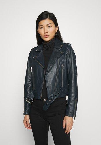 CANDICE  - Leather jacket - bleu marine