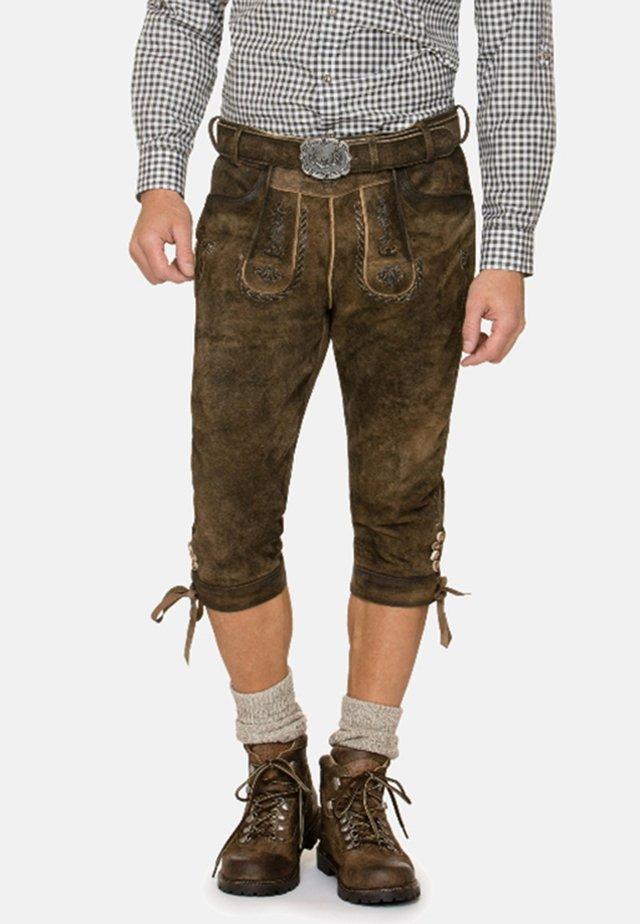 JOHANN - Leather trousers - stein geäscht