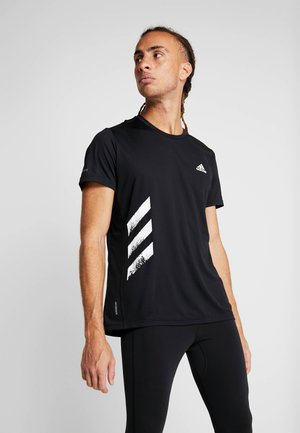 OWN THE RUN 3STRIPES SHORT SLEEVE TEE - Triko s potiskem - black