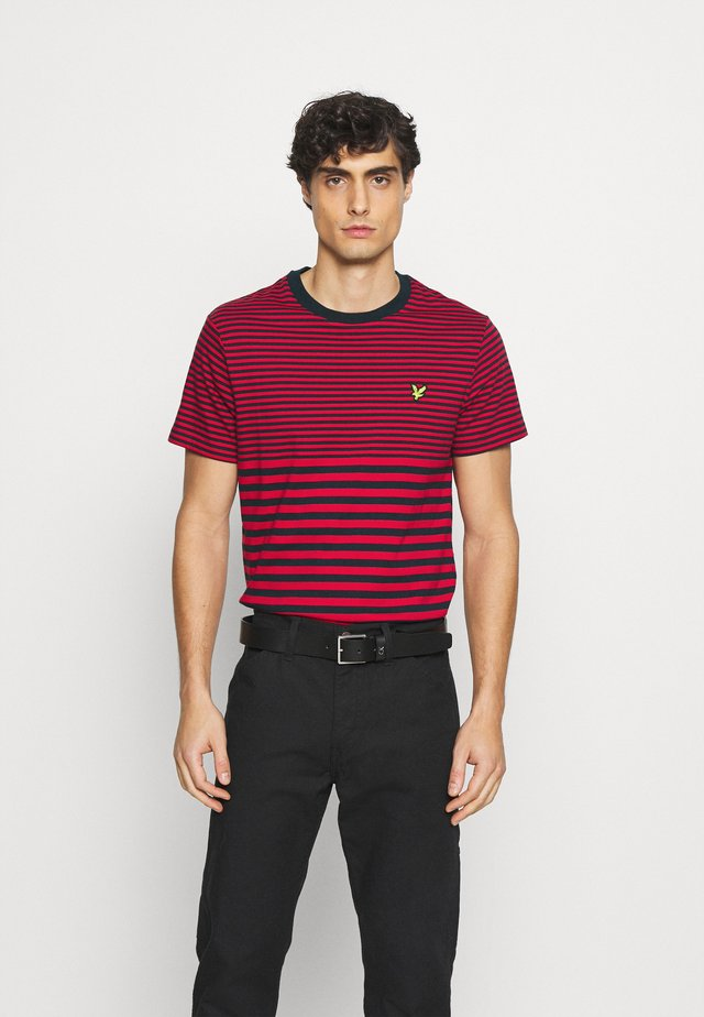 MULTI STRIPE - T-shirt con stampa - dark navy/chilli pepper red