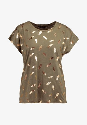 ONLFEATHER - T-shirts med print - kalamata/gold