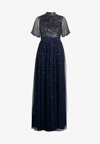 Maya Deluxe - HIGH NECK MAXI DRESS WITH OPEN BACK AND SCATTERED SEQUIN - Galajurk - navy - 5