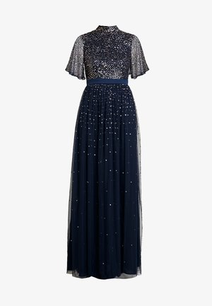 HIGH NECK MAXI DRESS WITH OPEN BACK AND SCATTERED SEQUIN - Galajurk - navy