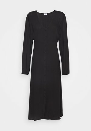 CLARA BUTTON THROUGH MIDI DRESS - Day dress - black