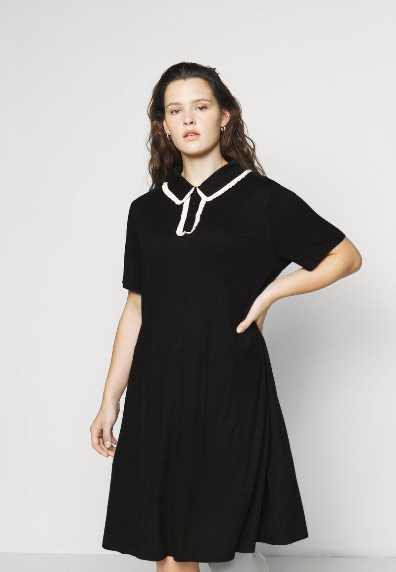 Glamorous Curve - GLAMOUROUS COLLAR DRESS - Day dress - black/white