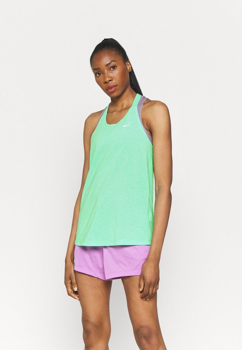 Nike Performance - DRY ELASTIKA TANK - Camiseta de deporte - green glow/heather/white