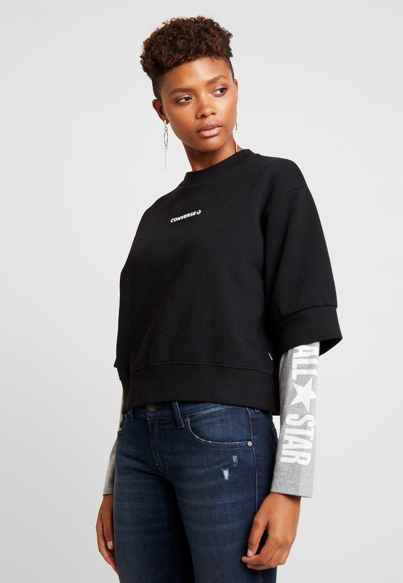 Converse - CREW DOUBLE SLEEVES ALL STAR - Sweatshirt - black/boston melange
